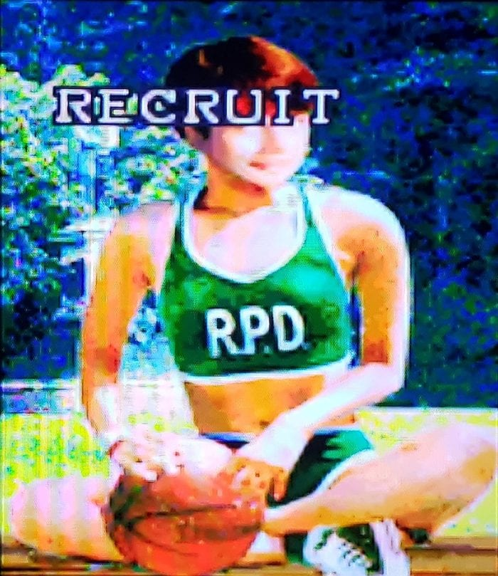 Someone has a photo of Rebecca Chambers (from the first game) in a basketball outfit. It looks like a playing card. It is marked RECRUIT.