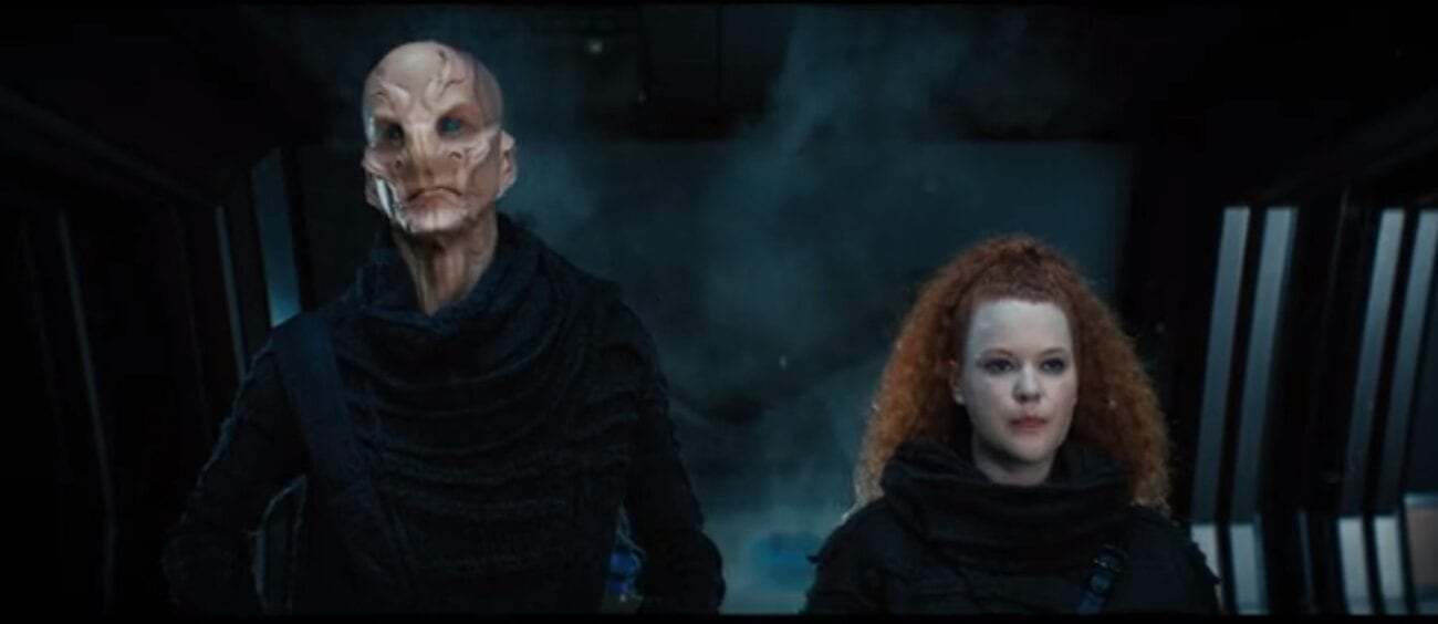 Saru (Doug Jones) and Tilly (Mary Wiseman) standing in the air lock of the Discovery looking forward with determination