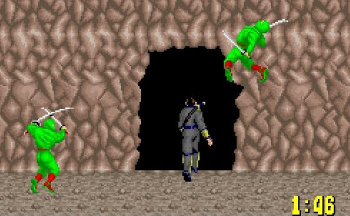 You exit the level as two green ninjas attack.