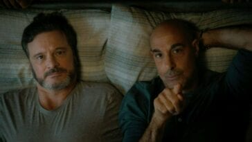 Colin Firth as Sam and Stanley Tucci as Tusker in Harry McQueen's Supernova