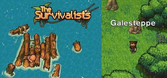 The charming pixel art of The Survivalists. A broken raft in the water. In another shot your shipwrecked character wanders the nearby woods.