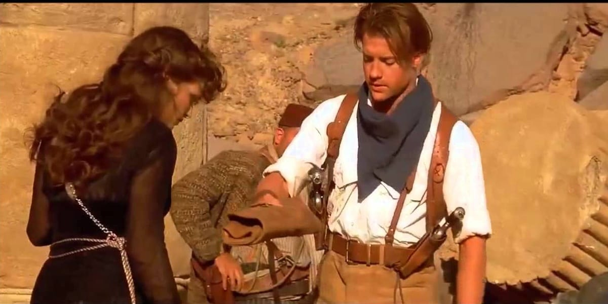 Rachel Weisz and Brendan Fraser in The Mummy