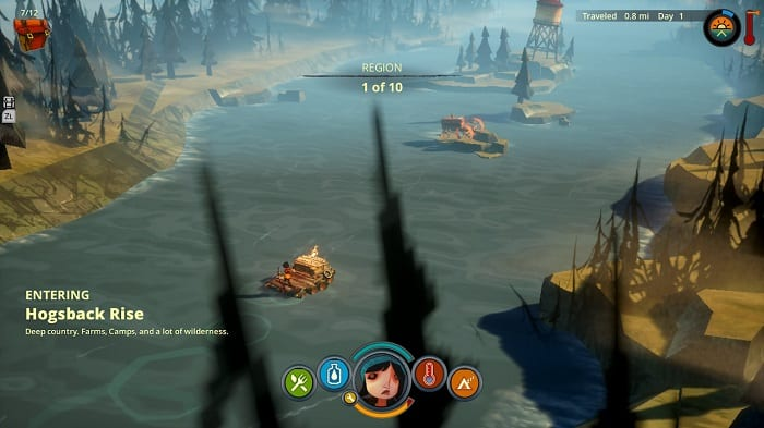 Scout travels down a river on a rickety raft
