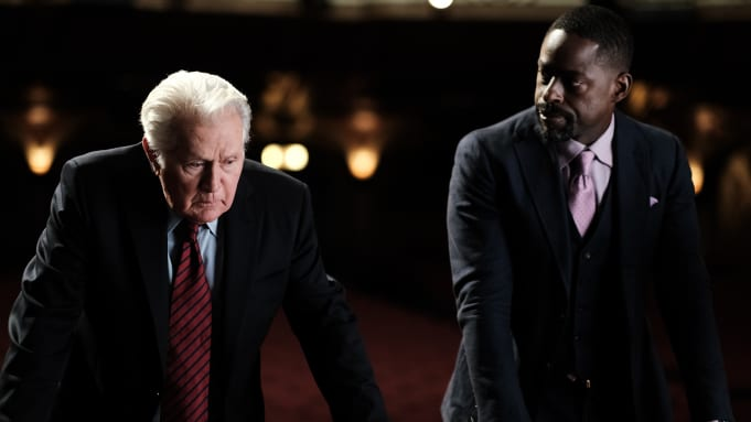 President Bartlet, and Sterling K. Brown as Leo McGarry in The West Wing Reunion
