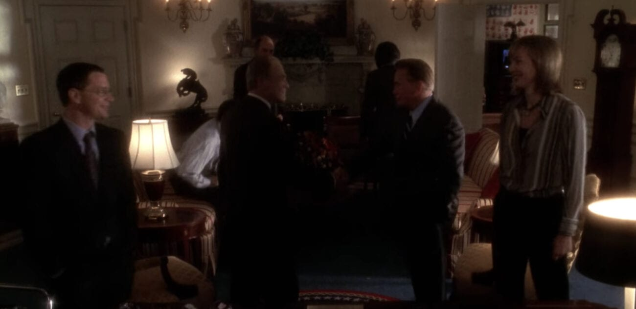 Jed Bartlet and others assemble in a room