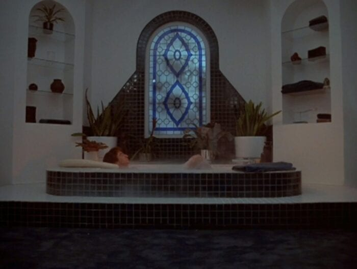 Jordan sits in his bathtub in a beautifully symmetrical room with book cases on either side and a lovely stained glass window in the center