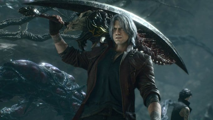 Dante holds a giant sword