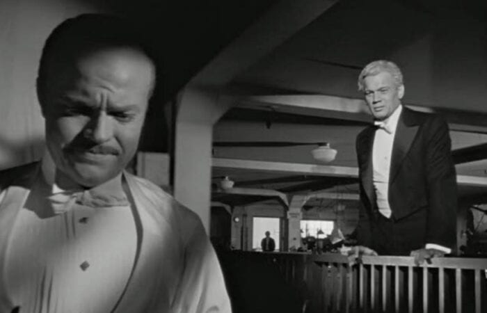 A scene from Citizen Kane, using to keep Kane focused in the foreground with his butler visible in the distance