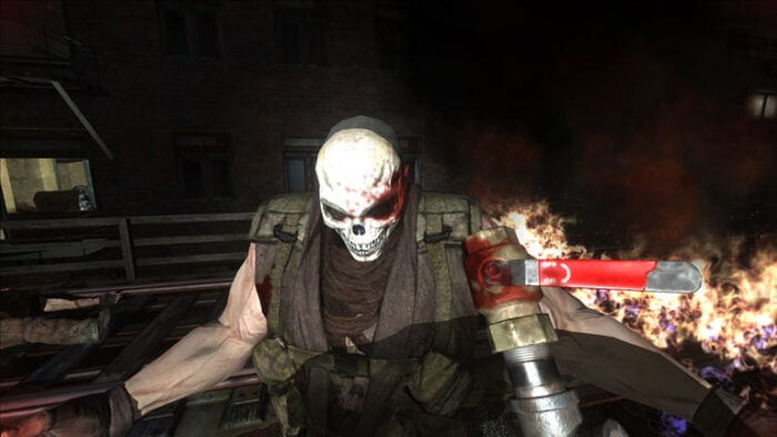 A man in a skull mask fights Ethan in Condemned 2