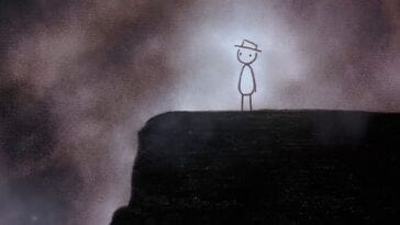 A stick man with an oval-shaped body wearing a hat stands atop a dark ledge. He is looking down it's face. Behind him are what appears to be gray clouds or fog.