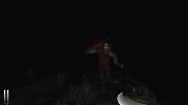 A mysterious figure with a disturbing mask appears out of the darkness wielding a chainsaw