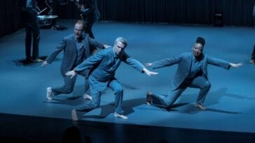 David Byrne and company on Broadway in David Byrne's American Utopia