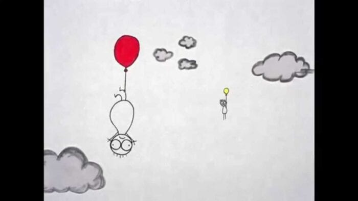 A bug-eyed doodle of a child is suspended by his leg high in the clouds by a red balloon. In the background, another child is seen held up by a yellow balloon.