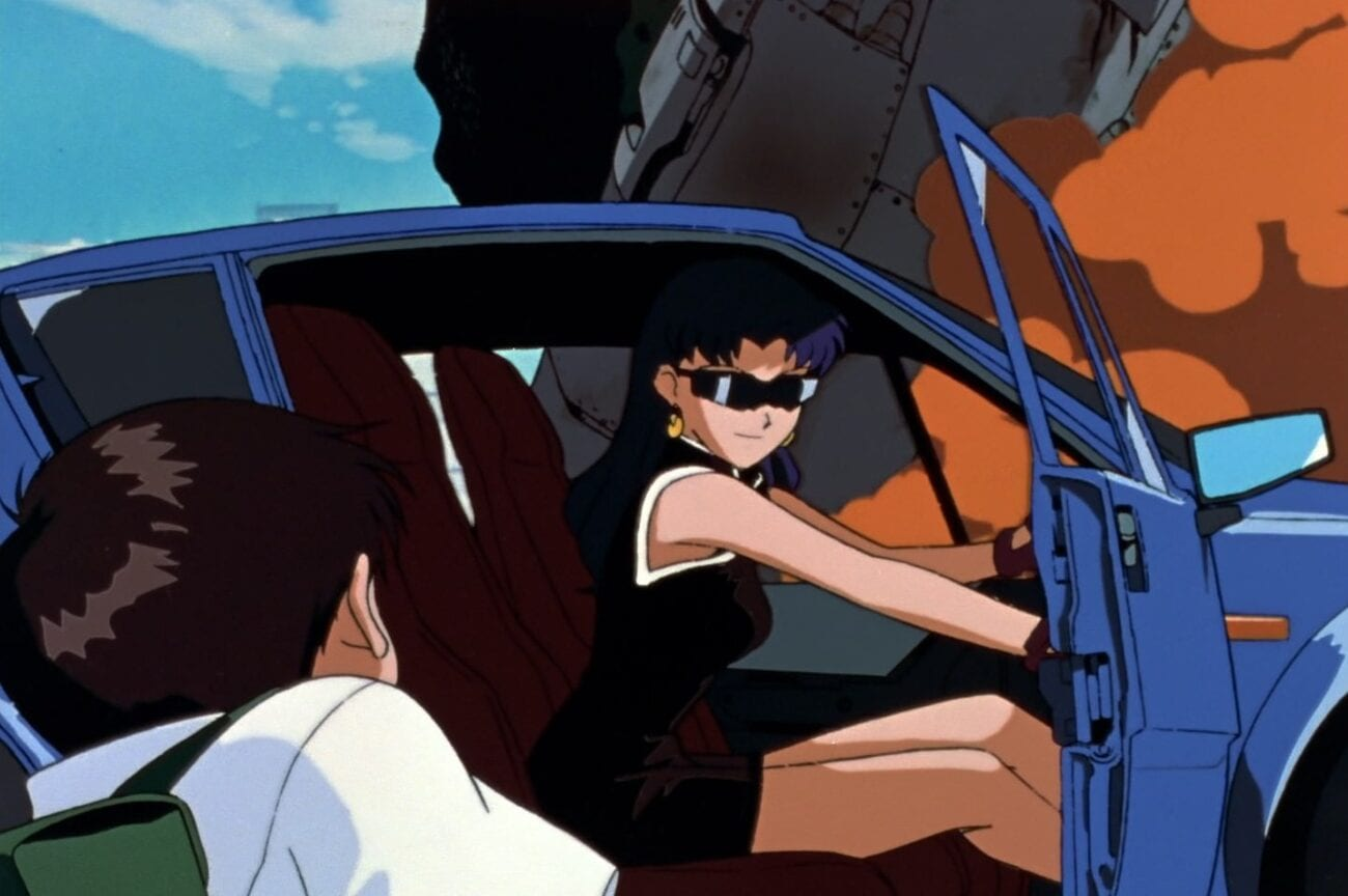 Misato pulled up in her car and opening the door for Shinji
