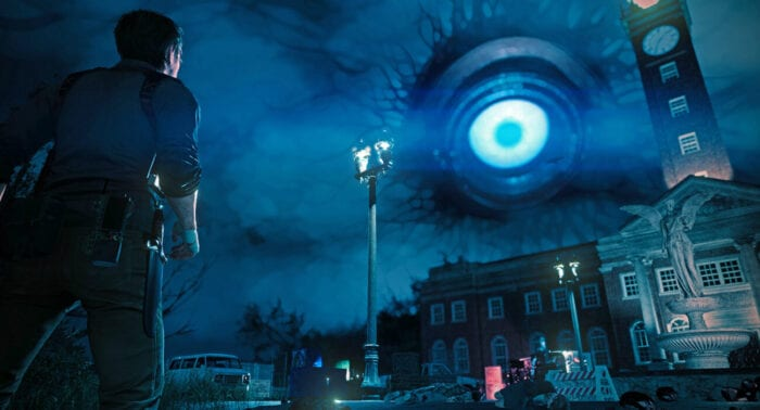 Sebastian stares at a large blue eye in the sky