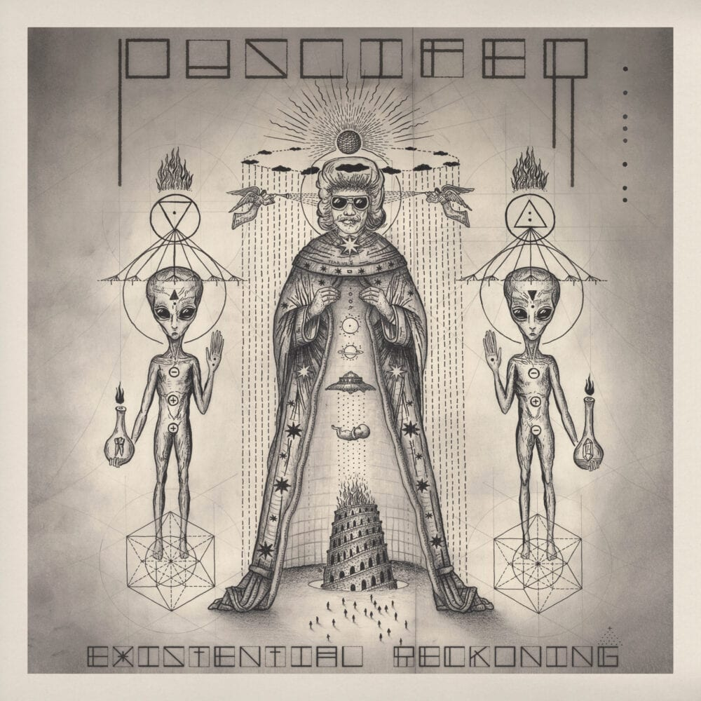 A drawing of a man in a robe and sunglasses with an alien on each side, along with some symbols, on the cover of Puscifer's Existential Reckoning