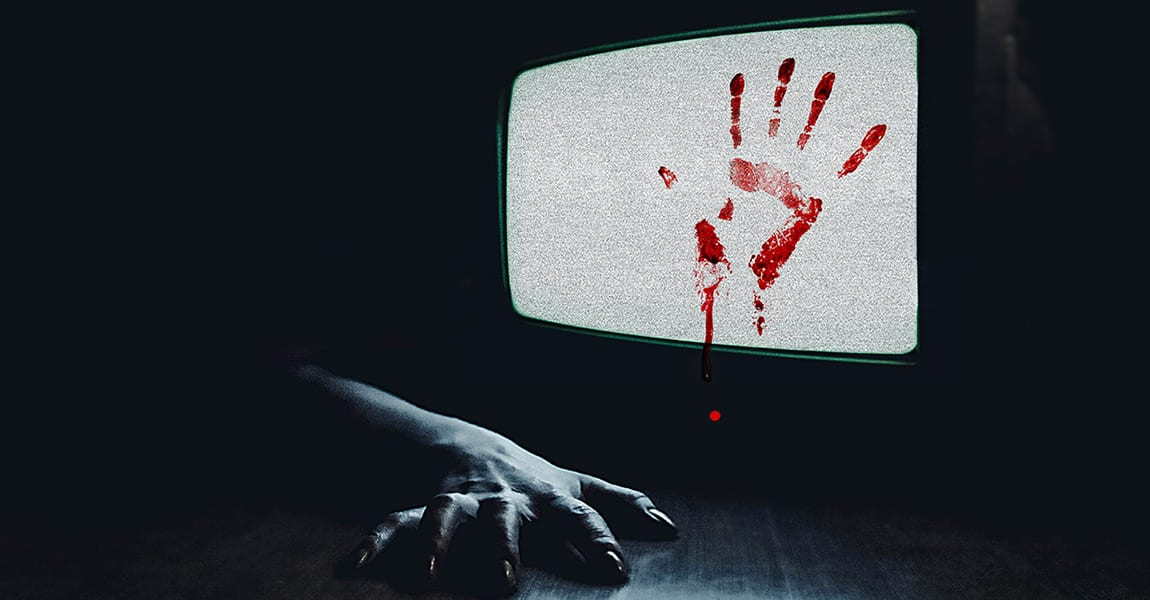 TV showing static with a bloody handprint on it, and an arm on the floor reaching out