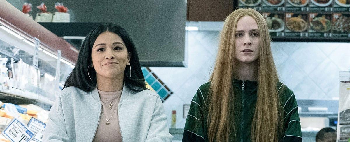 Gina Rodriguez and Evan Rachel Wood as Melanie takes Old Dolio shopping in Kajillionaire