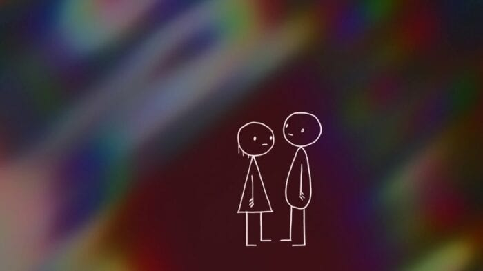 Two stick figures; the one on the left, a woman in a dress with a blank expression, stands in front of a man bearing the same look. They are in front of deep maroon coloring surrounded by an oil-spill-like rainbow mess.