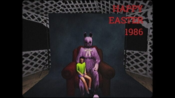 A kid sits on the lap of the Easter Ripper, taking a picture for the holiday.
