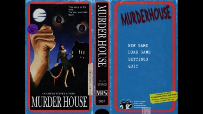 Title screen for Murder House looks like an old school VHS tape.
