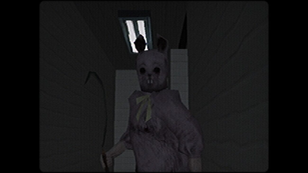 The Easter Ripper looks down a hallway holding a sickle.