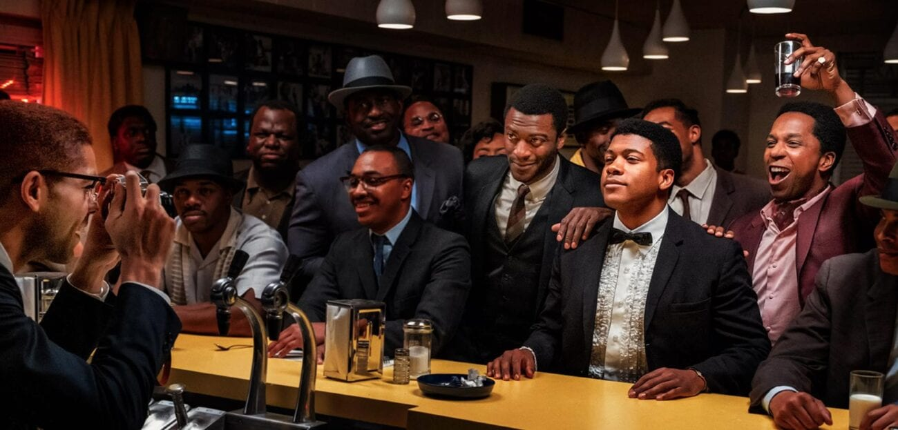 Jim Brown and Cassius Clay at the Bar in Regina King's One Night in Miami...