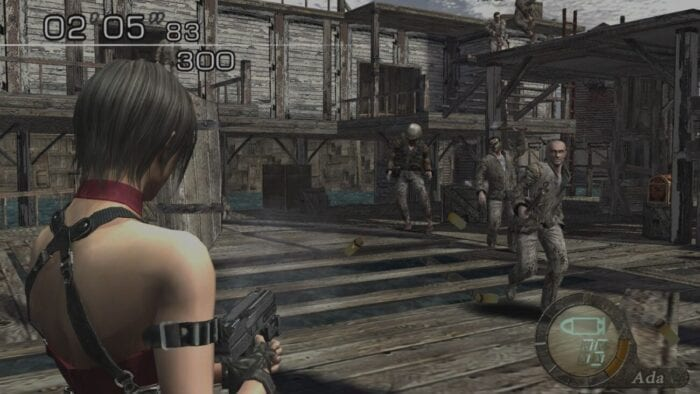Ada Wong fires an automatic pistol at a group of enemies