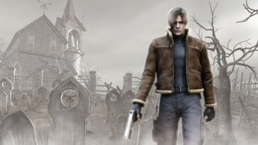 Leon walks, gun in hand, through a graveyard
