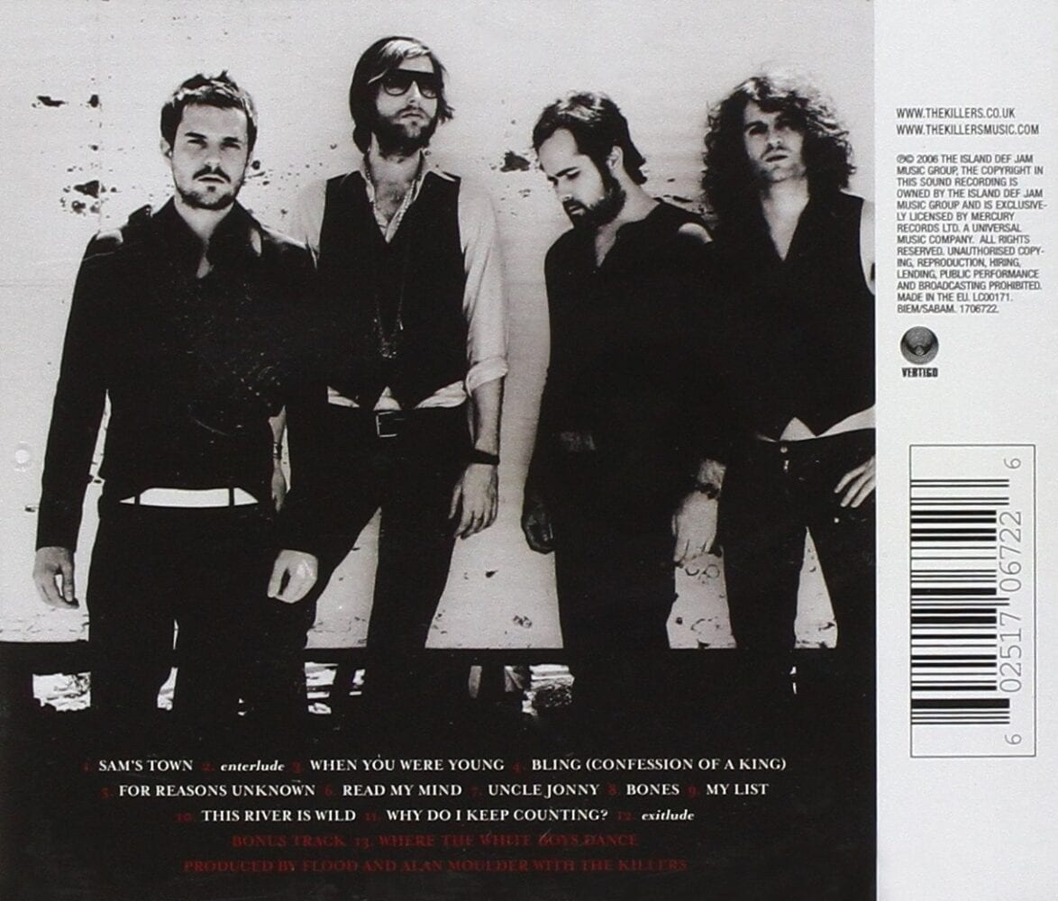 The back cover of Sam's Town album. Features the track listing and all four Killers band members
