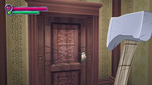 First person view of a person holding an ax as they approach a door.