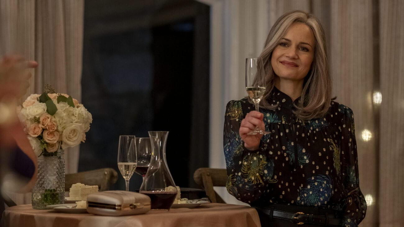 Carla Gugino raises a glass at the wedding in the finale of Bly Manor