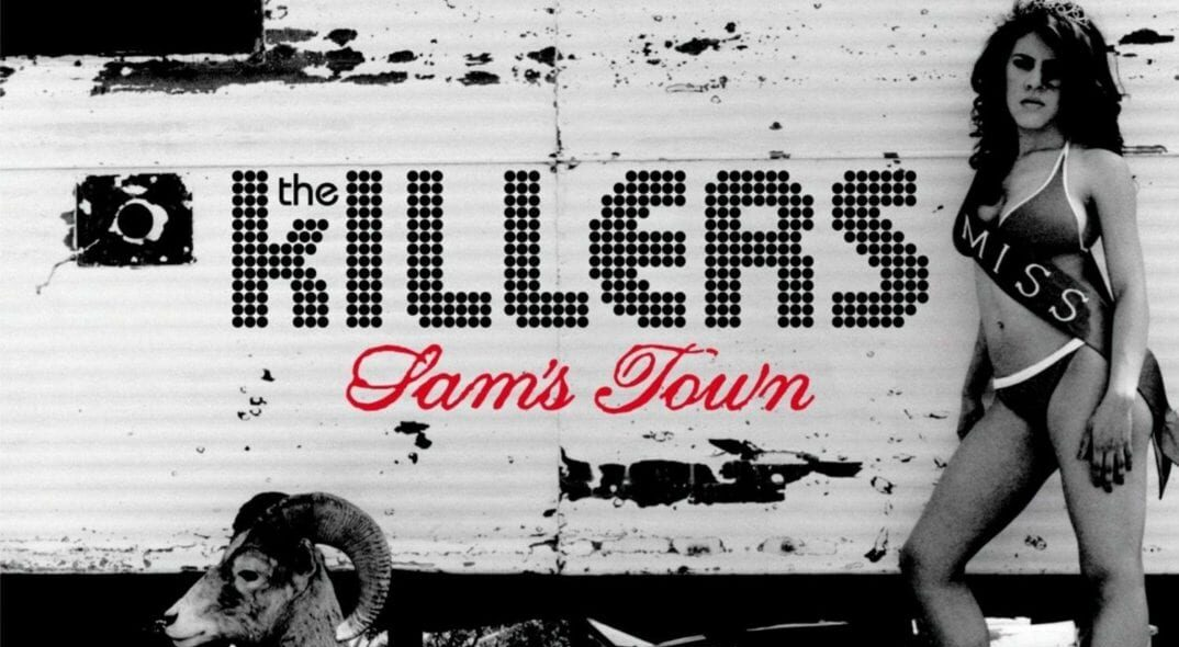 The Killers' Sam's Town album cover. A woman wearing a beauty contest sash stands against a caravan. There is a ram in the foreground