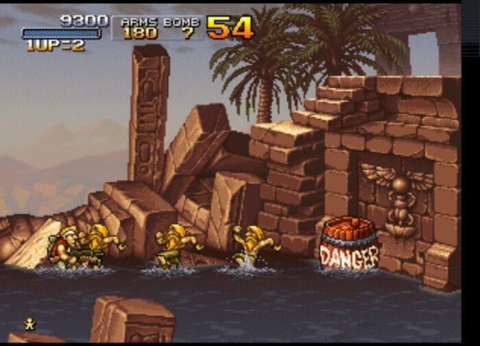 Gorgeous pixel art shows a tropical ruin flooded with water.