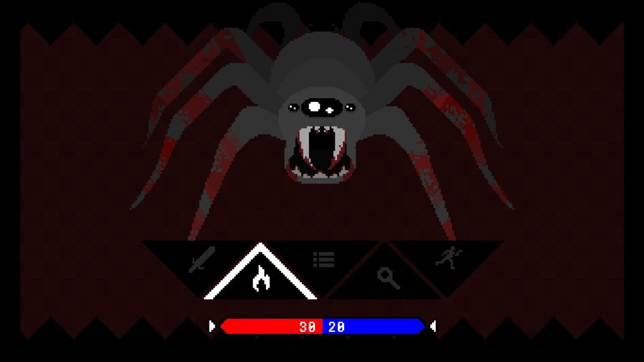 battle screen against a giant spider enemy