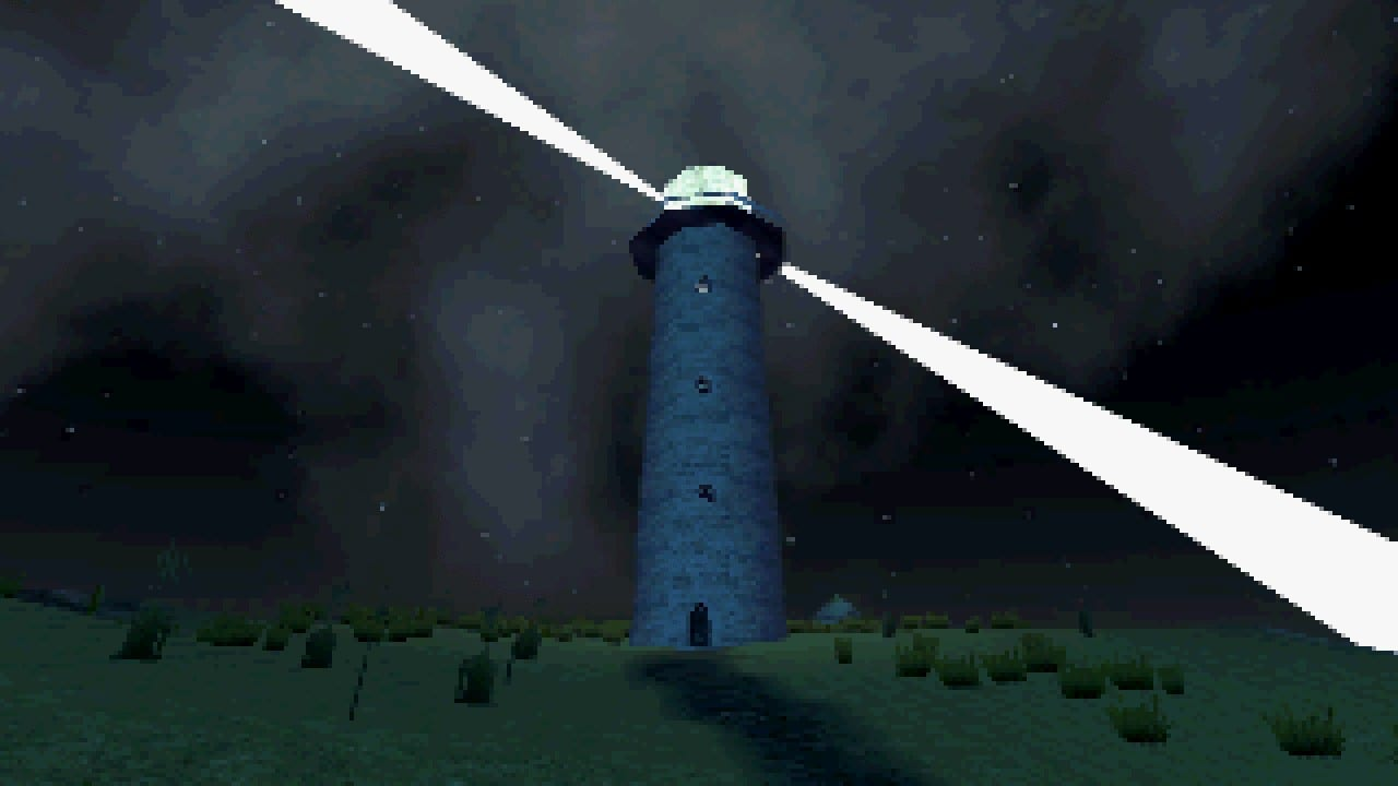 a lighthouse stands upon a hill, shining brightly in the dark