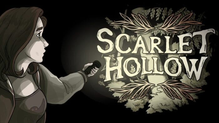 a long haired woman illuminates the words SCARLET HOLLOW with a flashlight