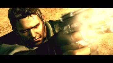 Chris Redfield shoots his gun to an unseen foe