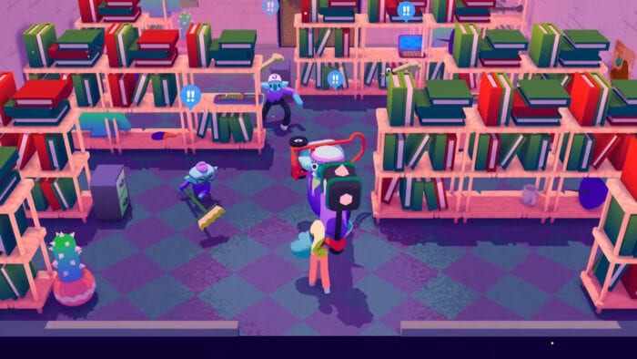 Some blue goblins cause mayhem in a library