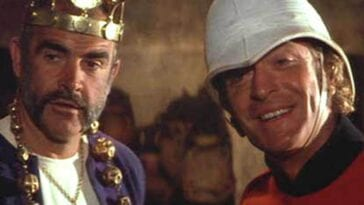 Danny and Peachy in their roles as rulers of Kafiristan, Danny as King, Peachey as his Captain