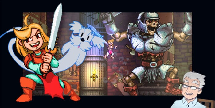 Madelyn and her dog, Grandpa, and a screen capture of the game, as you fight a giant skeleton warrior.