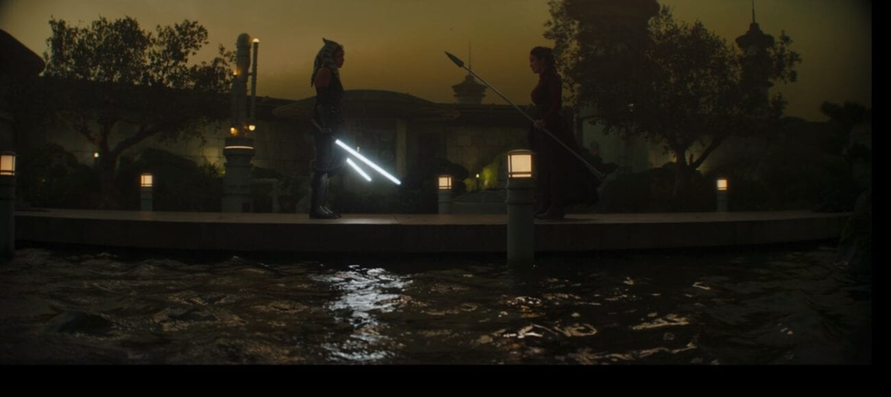 Ahsoka and The Magistrate prepare to fight on a bridge