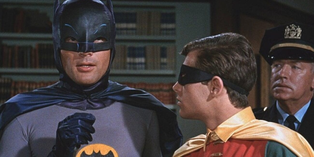 Batman and Robin with an officer behind them in 1960s show