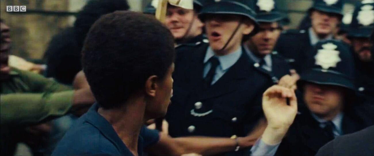 Me (copper right in the centre of shot) and Letitia get heated on the front line of the protest