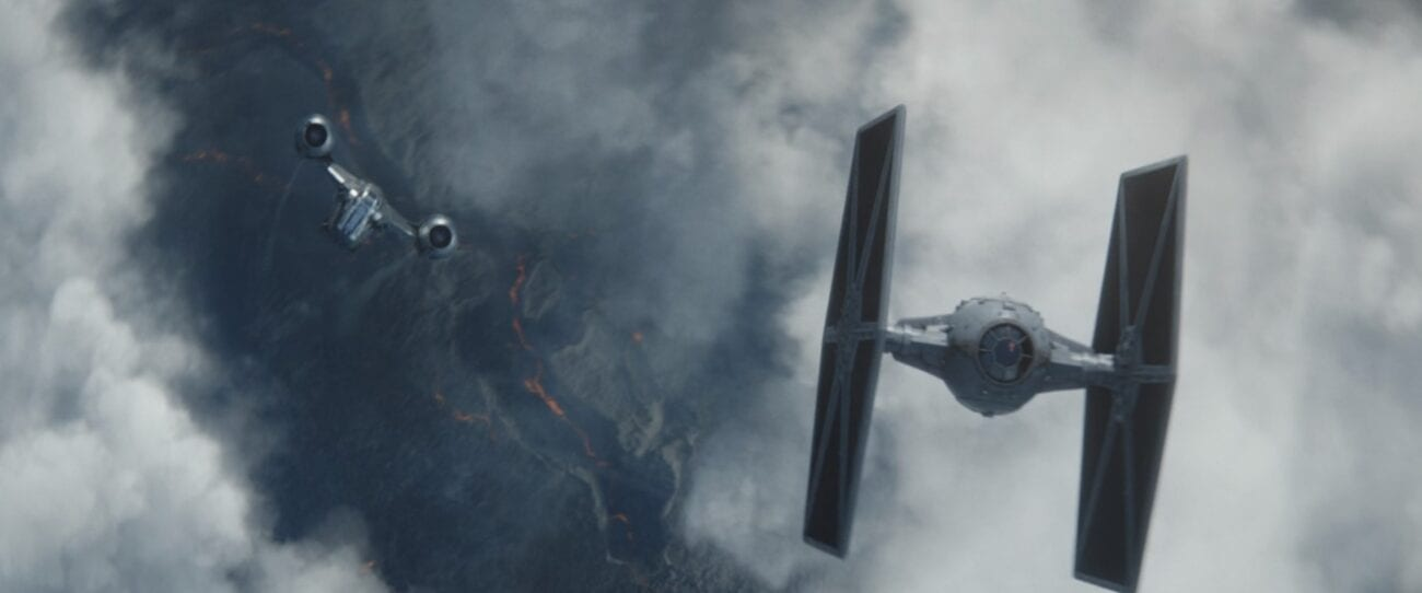 The Razor Crest and a TIE Fighter have a dogfight in the air