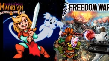 Battle Princess Madelyn and her spirit dog on the left, and Freedom Wars box art I can't heads or tails of, on the right