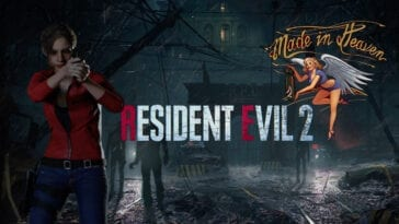 Claire Redfield aims a gun in front of the creepy Raccoon City PD.