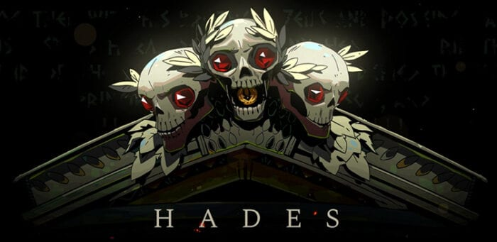 Three animated skulls and title Hades