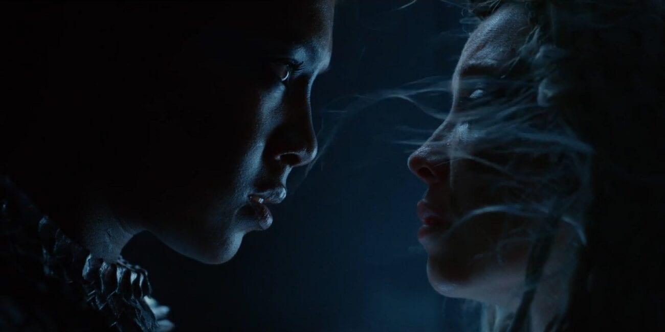 His Dark Materials - Ruta Skadi face-to-face with Katja, in shadows