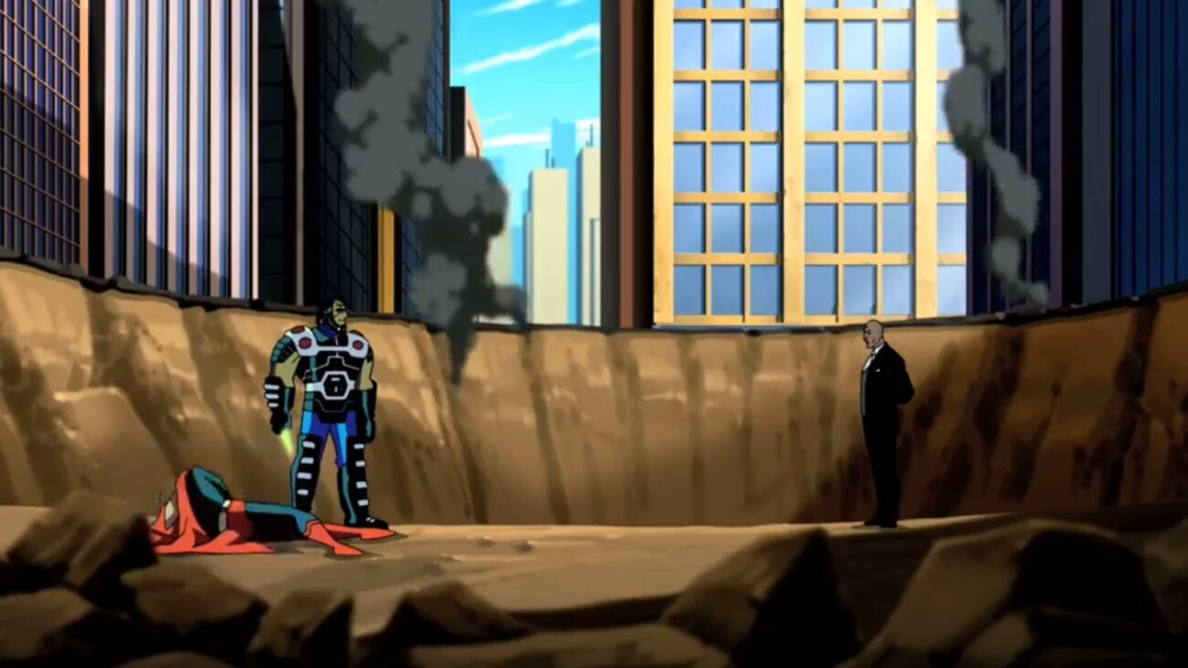 Lex Luthor, right, confronts Darkseid, left inside a smoking crater. Superman lays at Darkseid's feet while he holds a kryptonite dagger.